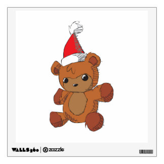 Cute Brown Teddy Bear Red Santa Hat Magnet Wrapper Wall Decal