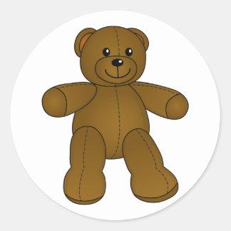 Cute brown teddy bear round sticker