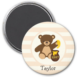 Cute Brown Teddy Bear with Yellow Honey 3 Inch Round Magnet