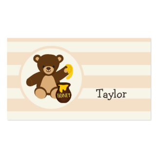Cute Brown Teddy Bear with Yellow Honey Business Card