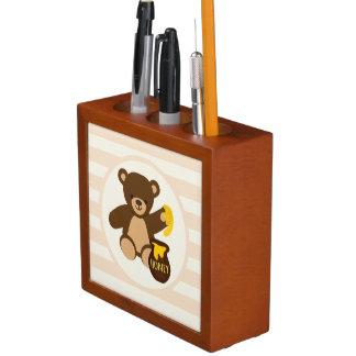 Cute Brown Teddy Bear with Yellow Honey Desk Organizer