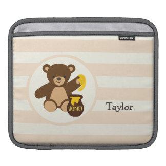 Cute Brown Teddy Bear with Yellow Honey iPad Sleeve