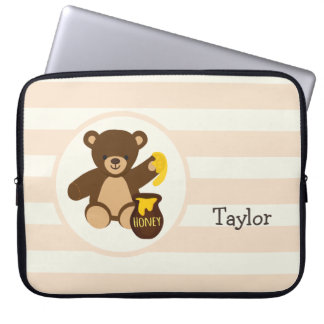 Cute Brown Teddy Bear with Yellow Honey Laptop Computer Sleeve
