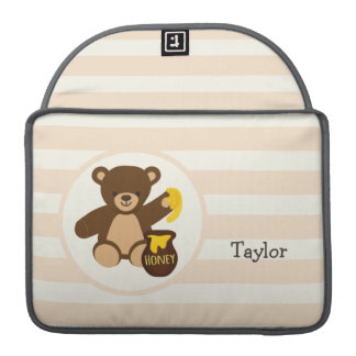 Cute Brown Teddy Bear with Yellow Honey Sleeves For MacBooks