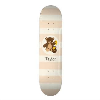 Cute Brown Teddy Bear with Yellow Honey Skateboard Deck