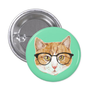 Cute Brown & White Cat Wearing Glasses Button