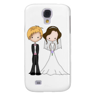 Cute Brunette Bride and Blonde Groom Cartoon Samsung Galaxy S4 Cover