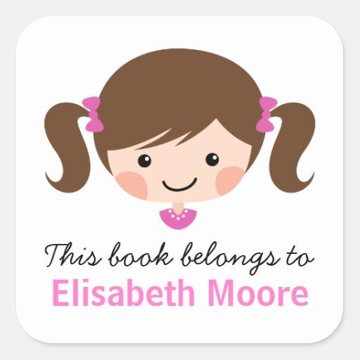 Cute brunette cartoon girl personalized bookplate square stickers