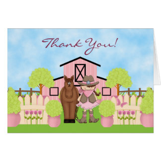 Cute Brunette Cowgirl and Brown Horse Thank You Card
