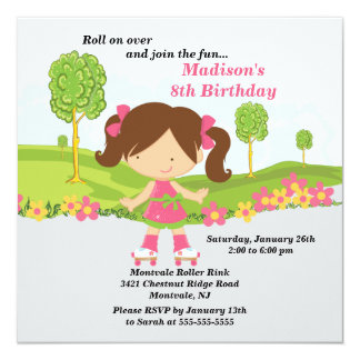 """Cute Brunette Girl Skating Birthday Party 5.25"""" Square Invitation Card"""