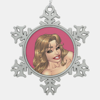 Cute Brunette in Tights Ready for Working Out Snowflake Pewter Christmas Ornament
