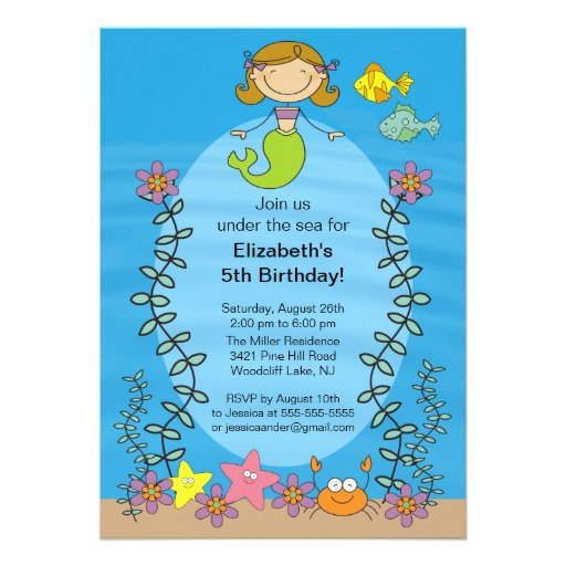 Cute Brunette Mermaid Birthday Invitation