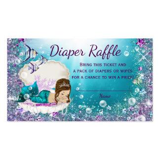 Cute Brunette Mermaid Diaper Raffle Tickets Business Card
