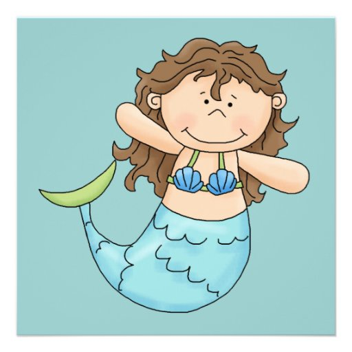 Cute Brunette Mermaid Girl Fish Design Invitation