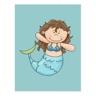 Cute Brunette Mermaid Girl Fish Design Postcard