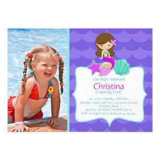 Cute Brunette Mermaid Photo Birthday Invitation