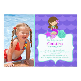 Cute Brunette Mermaid Photo Birthday Invitation 5
