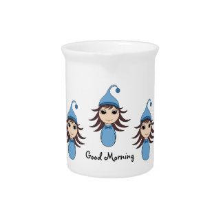 Cute brunette pajama girl chibis in blue drink pitcher