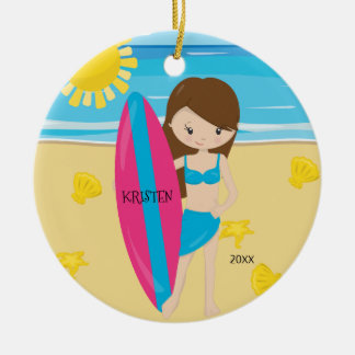 Cute Brunette Surfer Girl Personalized Christmas Ceramic Ornament