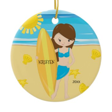 Christmas Themed Cute Brunette Surfer Girl Personalized Christmas Ceramic Ornament
