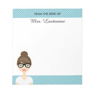 Cute Brunette Teacher Woman With Custom Text Note Pad