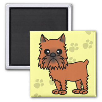 Cute Brussels Griffon Cartoon - Clipped Ears 2 Inch Square Magnet