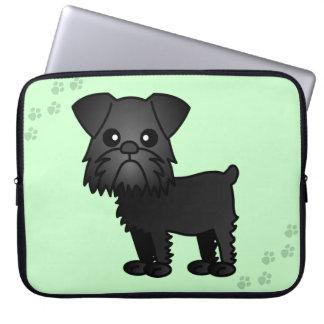 Cute Brussels Griffon Cartoon Mint with Paw Prints Laptop Sleeve