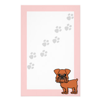 Cute Brussels Griffon Cartoon  - Pawprint Pink Stationery