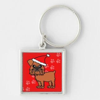 Cute Brussels Griffon Cartoon Santa Hat Keychain