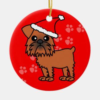 Cute Brussels Griffon Cartoon Santa Hat Double-Sided Ceramic Round Christmas Ornament