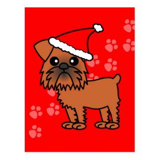 Cute Brussels Griffon Cartoon Santa Hat Postcard