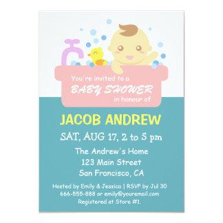 Cute Bubble Bath Baby Boy Shower Card