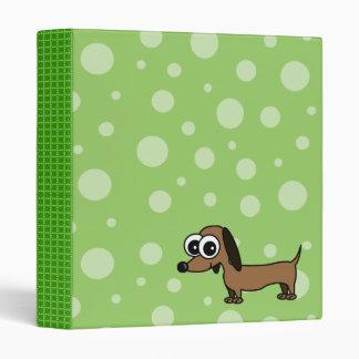 Cute Bubble Dachshund Binder - Green