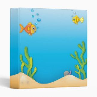 cute bubble fish underwater scene 3 ring binder