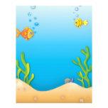 "cute bubble fish underwater scene 8.5"" x 11"" flyer"