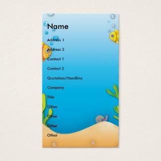 cute bubble fish underwater scene business card