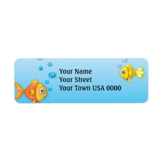 cute bubble fish underwater scene label