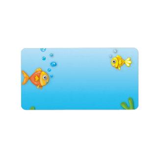 cute bubble fish underwater scene address label