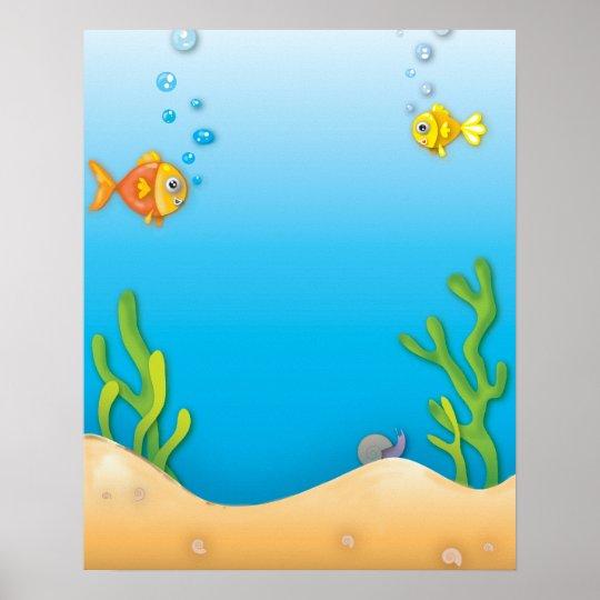 cute bubble fish underwater scene poster