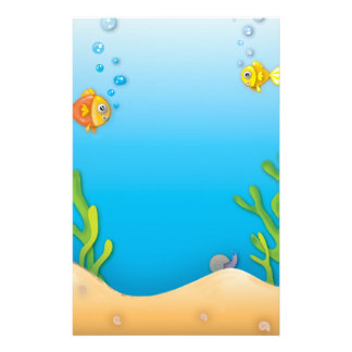 cute bubble fish underwater scene stationery