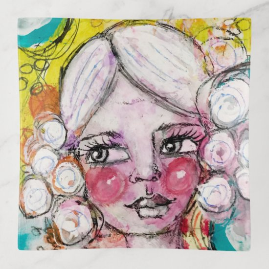 Cute Bubble Hair Girl Art Turquoise Yellow Orange Trinket Trays