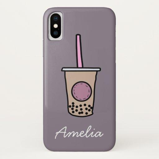 Cute bubble tea iPhone XS case