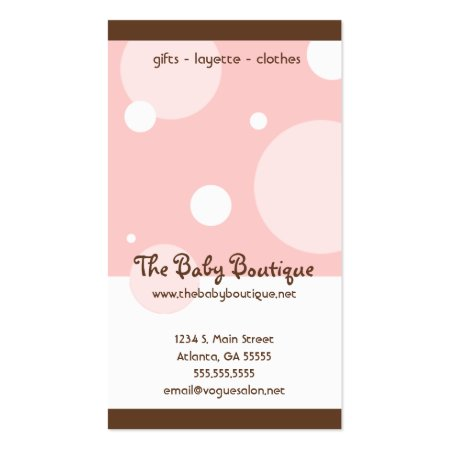 Pink and White Bubbles with Brown Borders Baby Boutique Vertical Business Cards