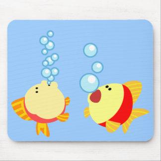 Cute Bubbling Cartoon Fish Mousepad