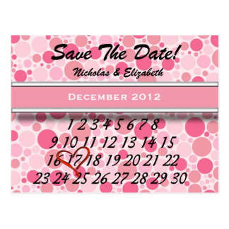Cute Bubbly Pink Save the Date Custom Calandar Postcard