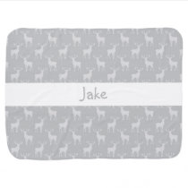 Cute Buck Deer Pattern in Grey Swaddle Blanket