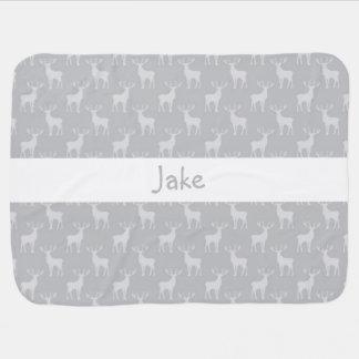 Cute Buck Deer Pattern in Grey Swaddle Blanket