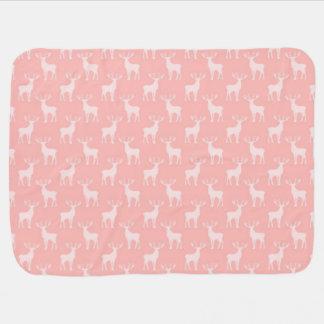 Cute Buck Deer Pattern in Soft Pink Baby Blankets