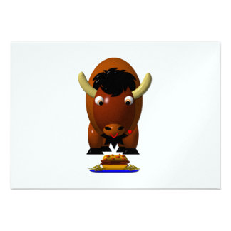 Cute Buffalo w Beef on Weck Buffalo Wings Personalized Announcements