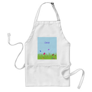 Cute bugs and bird in grass with blue sky adult apron